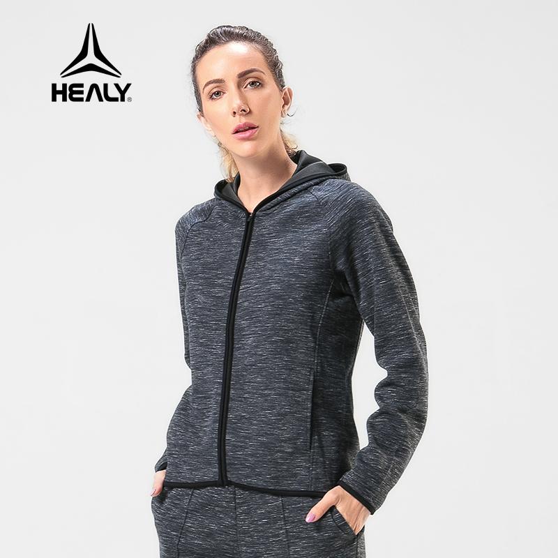 HEALY希利运动卫衣女跑步健身训练休闲连帽长袖连帽运动卫衣套装